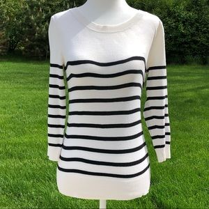 Old Navy cream black stripe 3/4 sleeve sweater.